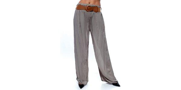 Dámské šedé volné kalhoty s páskem Trois Quatorze