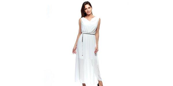 Dámské dlouhé bílé dvouvrstvé šaty Trois Quatorze se stříbrným páskem