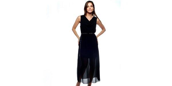 Dámské dlouhé černé dvouvrstvé šaty Trois Quatorze se stříbrným páskem