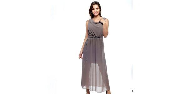 Dámské dlouhé hnědošedé dvouvrstvé šaty Trois Quatorze se stříbrným páskem