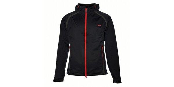 Pánská černá softshellová bunda s červenými detaily Envy
