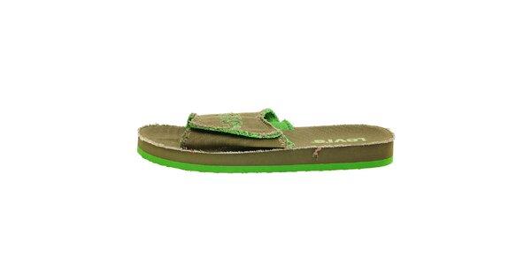 Pánské khaki pantofle Levis se zelenými detaily