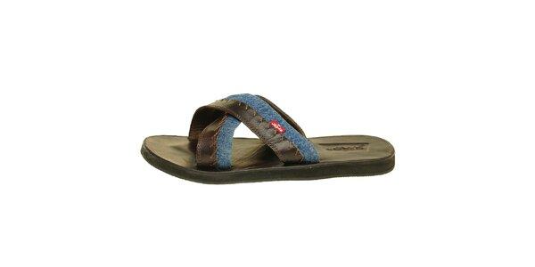 Pánské hnědé kožené pantofle Levis s modrým denimovým proužkem