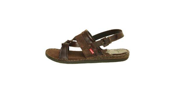 Pánské tmavě hnědé sandály Levis