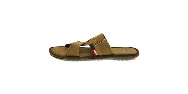 Pánské hnědé kožené pantofle Levis