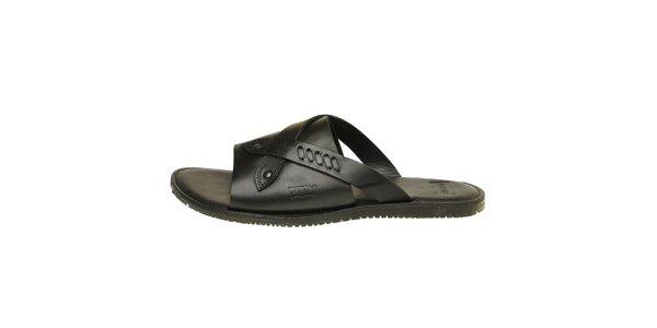 Pánské černé kožené pantofle Levis
