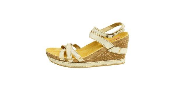 Dámské béžovo-hnědé kožené sandálky na klínku Levis