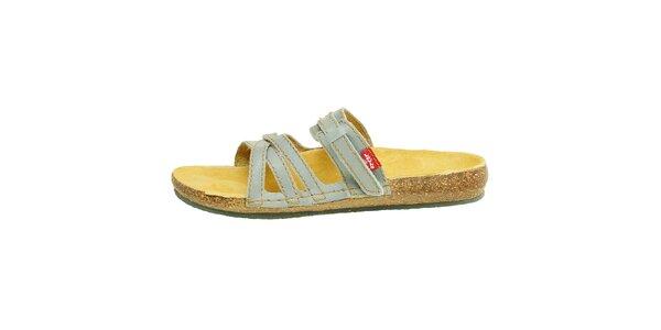 Dámské modré kožené pantofle Levis