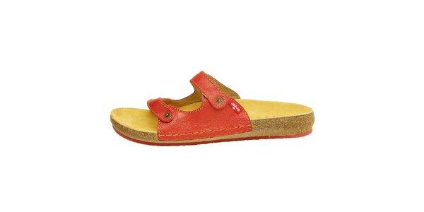 Dámské červené kožené pantofle Levis