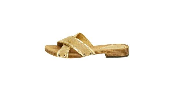 Dámské béžové textilní pantofle Levis se zlatým lemem