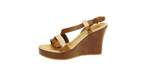 Dámské hnědo-béžové sandálky na klínu Levis