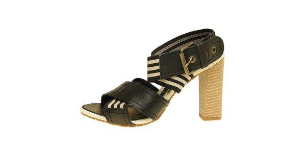 Dámské černo-béžové sandálky na vysokém podpatku Levis