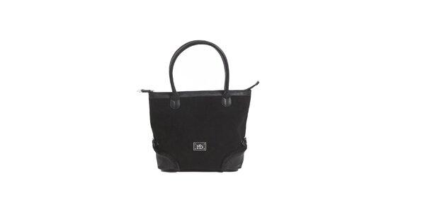 Dámská černá kabelka s kožíškovým lemem Roccobarocco