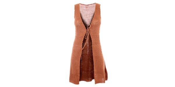 Dámská dlouhá hnědá háčkovaná vesta Phard
