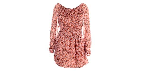 Dámské červené hedvábné šaty Phard s jemným květinovým vzorem