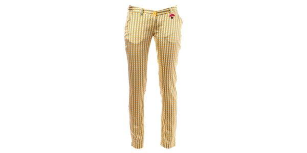 Dámské žluto-oranžové kostkované kalhoty Phard