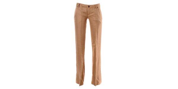 Dámské béžové lněné kalhoty Phard