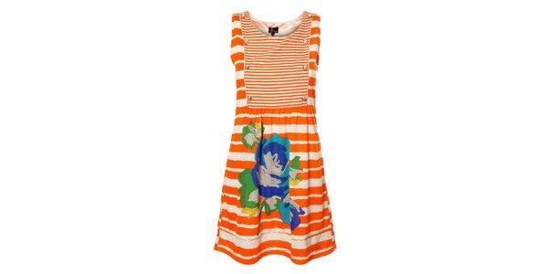 Dámské proužkované oranžové šaty Yumi