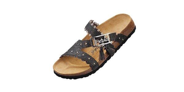 Dámské černé pantofle Betula s potiskem