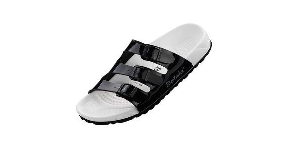 Dámské černo-bílé lakované pantofle Betula