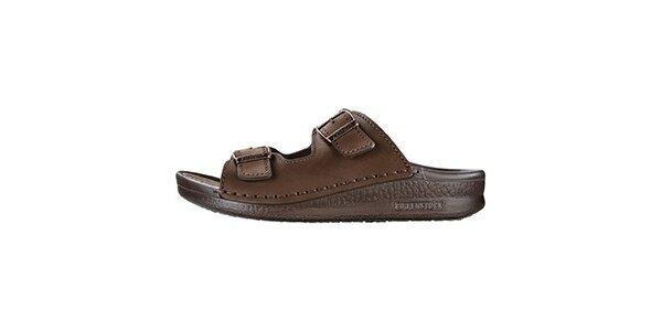 Pánské hnědé pantofle s širokými pásky Betula