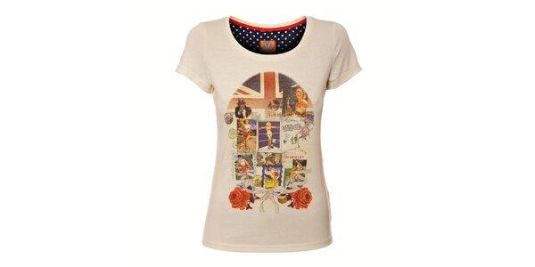 Dámské krémové tričko Yumi s barevným retro potiskem