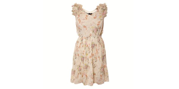 Dámské krémové šaty Yumi s květinovým potiskem a plisovanou sukní