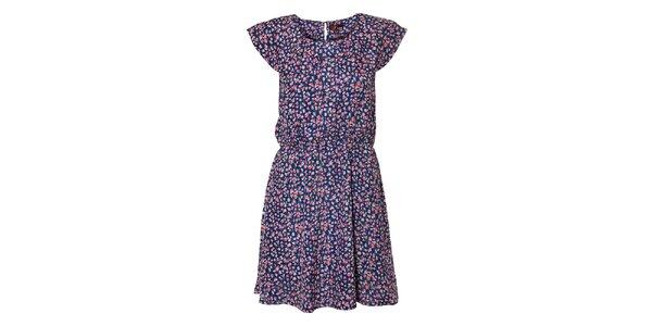 Dámské tmavě modré květované šaty Yumi