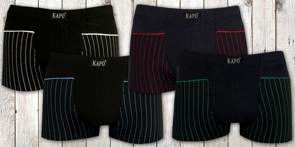 Balení čtyř pánských bavlněných boxerek s barevnými pruhy na nohavicích