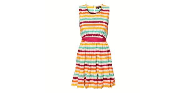 Dámské pestrobarevné proužkované šaty Yumi s plisovanou sukní