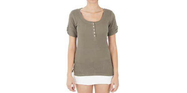Dámské žebrované khaki triko s knoflíky Women'Secret