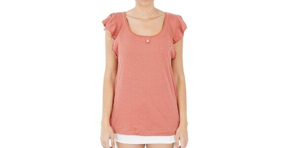 Dámské lososové tričko s volánkovými rukávky Women'Secret