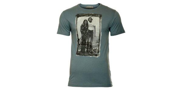 Pánské tyrkysové tričko s vintage potiskem ZU elements