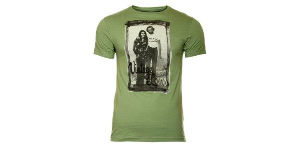 Pánské zelené tričko s vintage potiskem ZU elements