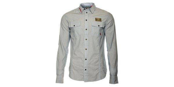 Pánská šedivá košile s dlouhými rukávy ZU elements