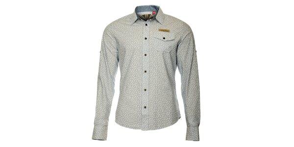 Pánská šedá košile s motivem kotviček ZU elements