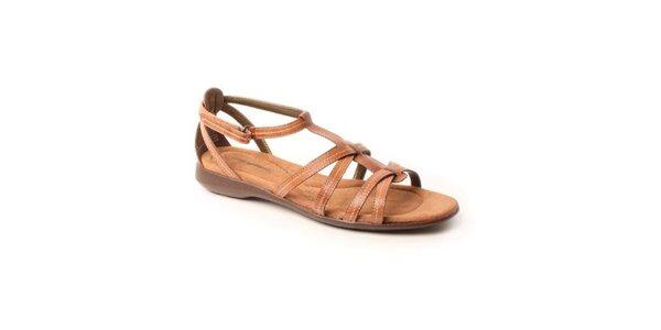 Dámské hnědé kožené sandále Hush Puppies