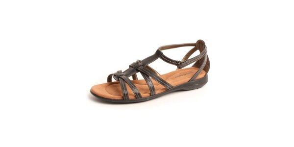 Dámské černé kožené sandále Hush Puppies