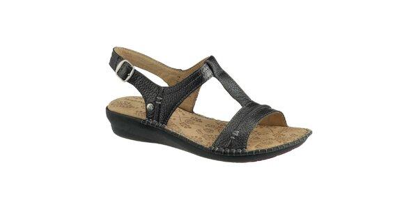 Dámské černé kožené sandálky Hush Puppies