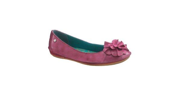 Dámské fialové kožené baleríny s květinou Hush Puppies