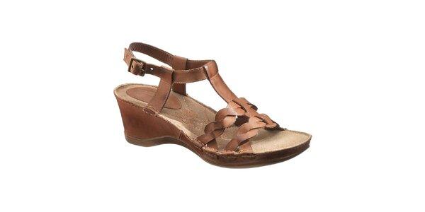 Dámské hnědé kožené sandálky na klínku Hush Puppies