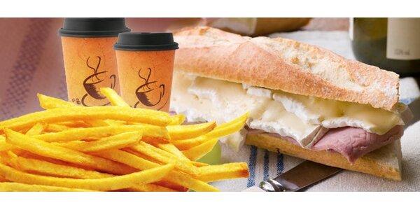 109 Kč za menu pro dva - dvě bagety dle výběru, hranolky, káva!