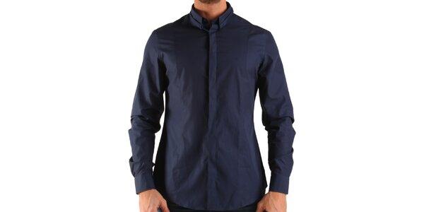 Pánská tmavě modrá košile s dlouhým rukávem Calvin Klein