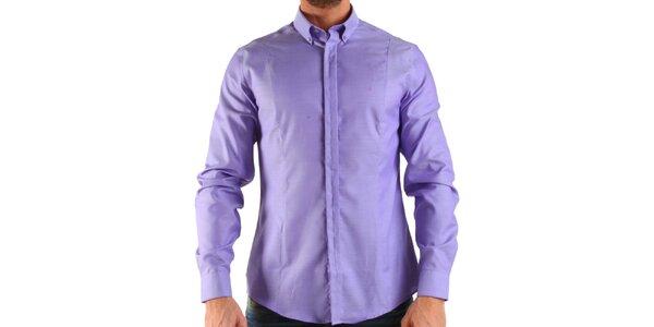Pánská lila košile s dlouhým rukávem Calvin Klein