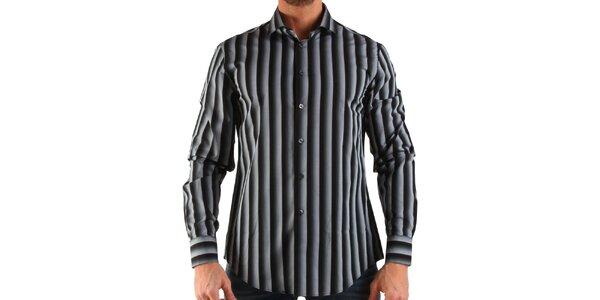 Pánská černo-bílá pruhovaná košile Calvin Klein