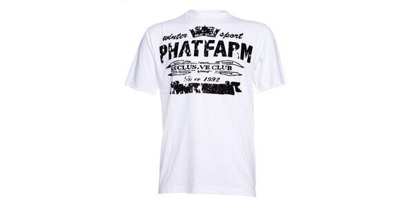 Pánské bílé triko Phat Farm s černým semišovým potiskem
