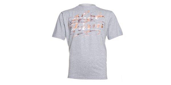 Pánské šedé melírované tričko Phat Farm s oranžovým potiskem