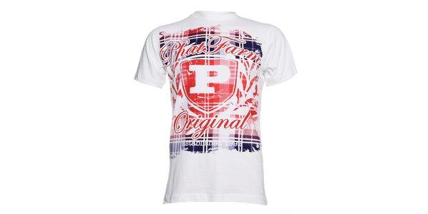 Pánské bílé tričko Phat Farm červeno-modrým potiskem