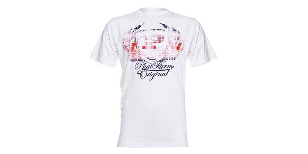 Pánské bílé tričko Phat Farm s červeno-modrým potiskem