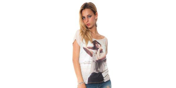 Dámské béžové tričko s potiskem Bella rosa